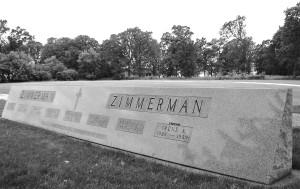 Zimmerman gravestone, Calvary Cemetery, Waseca, Minnesota