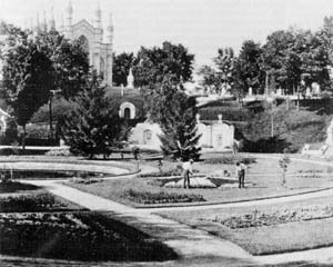 "Mount Auburn Cemetery, Cambridge, Mass. Mount Auburn, founded in 1831, is considered the nation's first ""park"" cemetery. Photo from collection of Mount Auburn Cemetery Archives."
