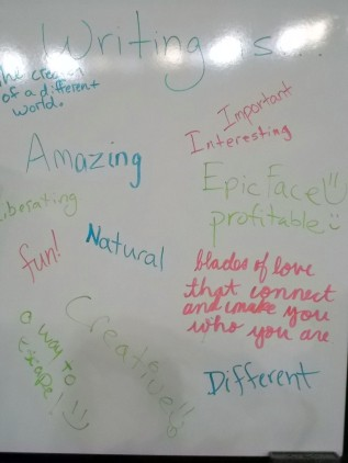 "Look at all the great ways students finished the sentence ""Writing is..."" (I threw profitable in there to be funny)."