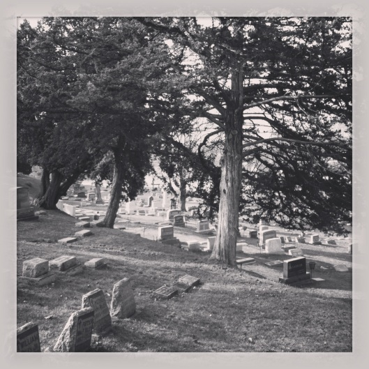 A pretty day to visit a cemetery. St. Mary's in Winona is kind of tucked into a hillside.