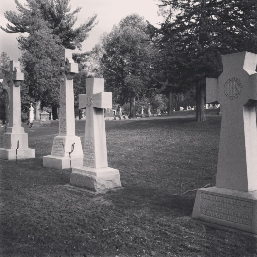 The graves of bishops.
