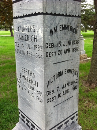 A monument from the New Ulm City Cemetery. If you want to practice your German translation skills, go to New Ulm.