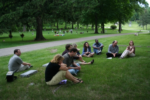 Is this what a cemetery book club might look like? The crowd at Glenwood Cemetery in Mankato for a reading was a little sparse, but we had fun!