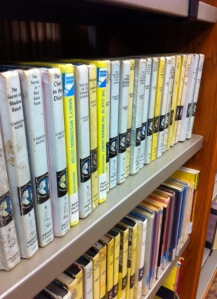 A couple of shelves of old Nancy Drew books! I camped out in front of a similar shelf at the Waseca library oh-so-many years ago.