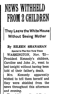 A New York Times story from November 23, 1963.