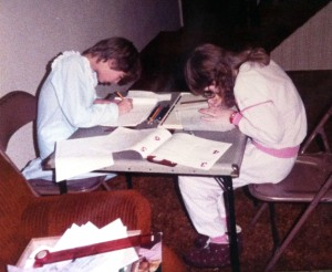 My cousin, Bernadette, (left) and me at my house. I think this was after Christmas 1985. Notice my red watch! That was new for Christmas. I want to say it was a Swatch, but I can't be certain.