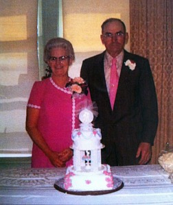 Grandma and Grandpa Hager, 1973. This photo was taken at their 45th wedding anniversary.