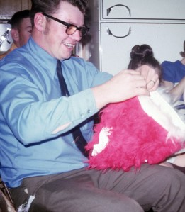 It's pretty easy for me to remember this version of Dad. (Those are furry underpants he received one Christmas!).