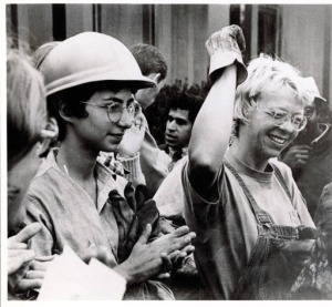 Camilla Hall (on right). This was probably sometime in 1973. Camilla worked hard to help unionize female park workers in Berkeley. Photo courtesy Gustavus Adolphus College archives.