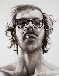 The famous Chuck Close self-portrait. From Walker Art Museum, www.walkerart.org.