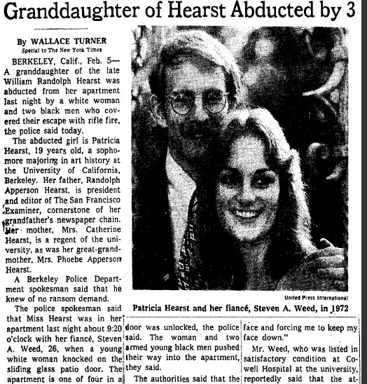 The New York Times story of the kidnapping in the Feb. 5, 1974, edition.