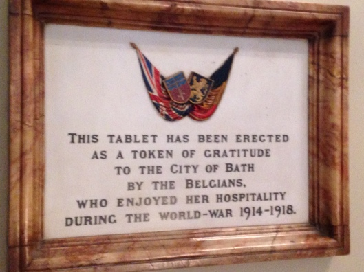 The next three photos are memorials in the Guildhall as you go up the steps to the main banquet room. This one makes me want to know more about the relationship Bath had with the Belgians during WWI.