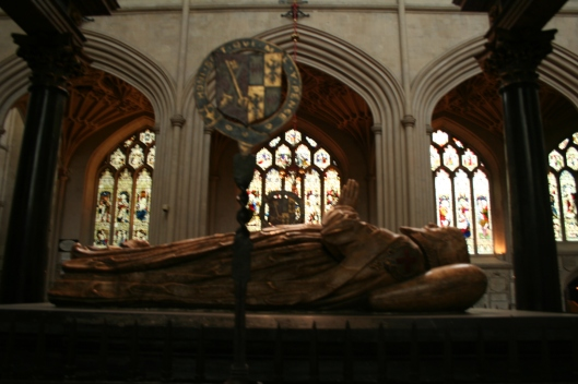 The effigy of James Montagu, bishop of Bath-Wells and later Winchester, 17th century.