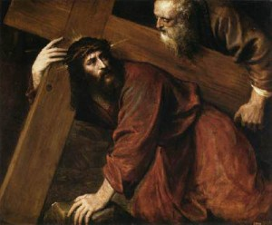 Simon of Cyrene helps Jesus with the cross. One of my great loves is Renaissance art that depicts New Testament scenes. I can't find credible information regarding the creator of this painting.