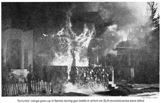 The firestorm that destroyed the SLA hideout in Los Angeles, May 17, 1974.