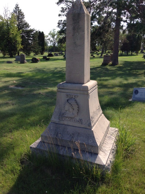 Chief Bemidji's grave. An example of the tall grass around gravestones here.