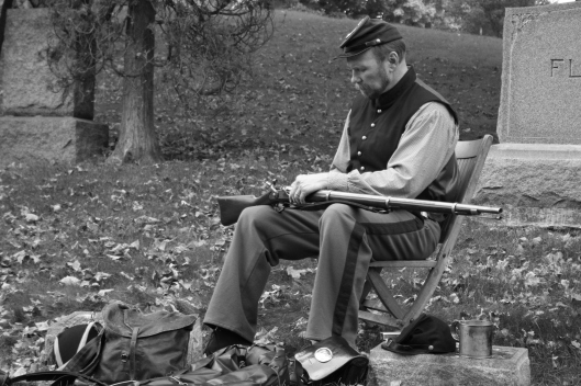 Local Civil War re-enactor and teacher Arn Kind expertly portrays a soldier.