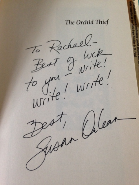 My inscribed copy of The Orchid Thief.