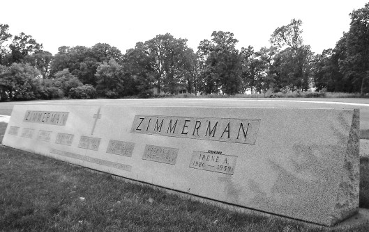 The Zimmerman monument in Calvary Cemetery, Waseca, Minn. Photo by author.