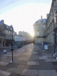 A street in Bath, England, where I'm currently staying to complete a residency period for my Ph.D. program. Photo illustration by author using the Brushstroke app.