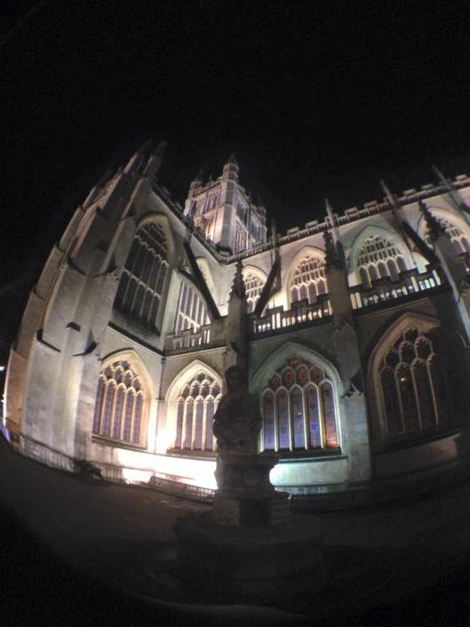Bath Abbey at night. Photo by author.