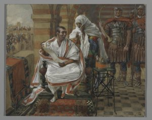"""The Message of Pilate's Wife,"" by James Tissot, c. 1886-1894. http://www.brooklynmuseum.org/opencollection/objects/13491/The_Message_of_Pilates_Wife.__Pilate"
