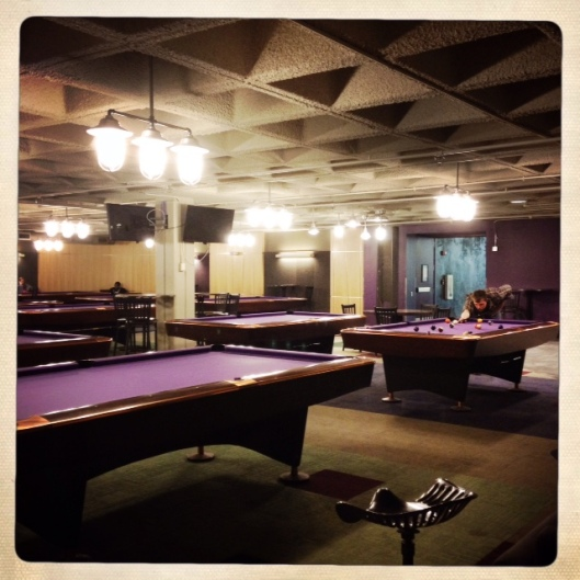 Pool tables in the student union at MSU.