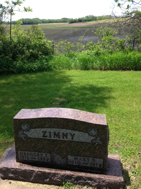 My grandpa and grandma are buried in the very southwest corner. Grandpa farmed all his life, so it's fitting that he's right next to the field. (Grandpa, being Polish, is an exception to the mostly Irish buried here. But Grandma was Irish!).