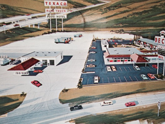 "A postcard of a truck stop! It's the Deck Plaza at I-80 and Highway 82 in Geneseo, Illinois. The back says it has ""complete modern interstate facilities."""