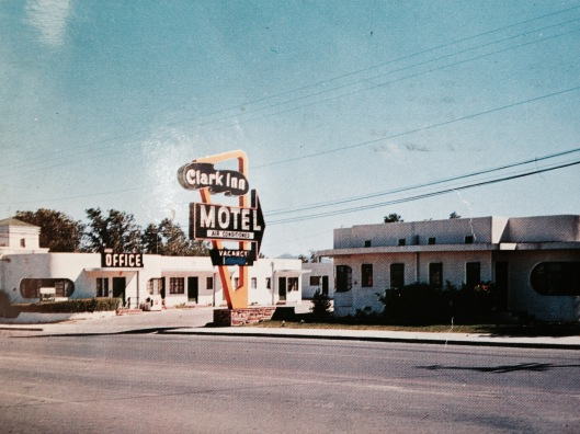 The Clark Inn Motel, 1800 E. Fremont Ave., Las Vegas. The postcard tats the carpeting, steam heating and air cooling.