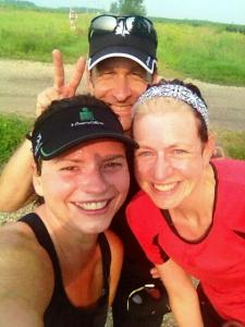 On the Sakatah Trail, about eight miles in. We're still smiling! The morning of the Fourth was almost a perfect day to run in Minnesota.