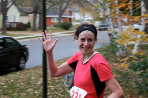 A silly picture Rick Robbins took of me during the 2010 Mankato Marathon! Somehow I managed a smile even though this was around Mile 20.