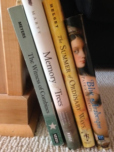 A sampling of trauma-free memoirs on my bookshelf.